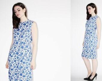 1950s Cotton Wiggle Dress - Vintage 50s Blue Floral Dress  - The Bluest Eyes Dress - 8060