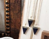Blue Goldstone Triangle Pendant Necklace/ Goldstone Glitter Gemstone Necklace/ Triangle Geometric Pendant Necklace/ Summer Fashion/ Layering