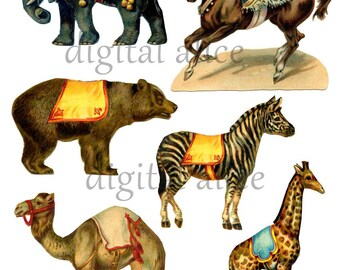 Vintage CIRCUS ANIMALS CLIP ARt- Digital Download double sided-  antique Carnival Elephant,Camel,Bear Horse Giraffe -Party Paper Crafts