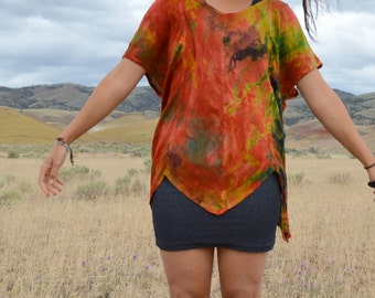 Vintage Tie Dye Shirt Blouse PONCHO Top  Hippie Boho Red