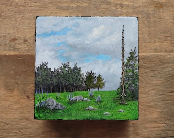 Small Spring Landscape Painting, original 4x4 inch collectible miniature acrylic art scene, green meadow, flowers, trees