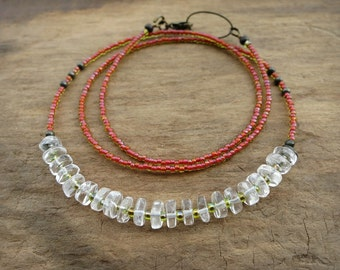 Clear Quartz & Red Necklace, dainty colorful Bohemian necklace with quartz heishi and fluorescent neon red seed beads