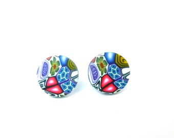 Round Millefiori Stud Earrings, Stainless Steel, Hypo Allergenic, Polymer Clay, Flower, Pink, Blue, Green, Supremily Jewellery