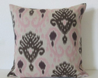 Barbados Ikat Blush brown pink ikat decorative pillow cover