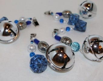Jingle Bell Blue/Silver Tablecloth Weights Set of 4