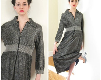 Vintage 1970s Metallic Silver Lurex Dress or Lounger / 70s Zip Front Maxi Dress in Lamé / Medium