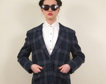 Vintage 1950s Plaid Pendleton Blazer / 50s Blue Wool Jacket / Medium