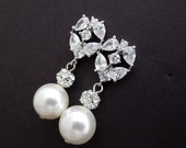 Cubic Zirconia Earrings,Bridal Earrings,Bridal Rhinestone Earrings,Crystal Bridal Wedding Earrings,Rhinestone Teardrop Earrings,CZ,HILDY