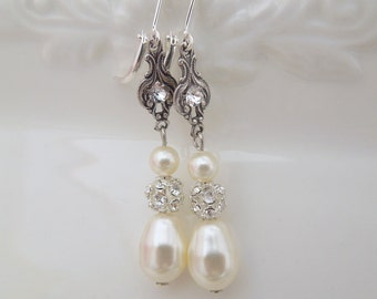 Ivory swarovski pearl Bridal Earrings Rhinestone Wedding Earrings Chandeliers Earrings swarovski pearl crystal teardrop earrings CORRINE