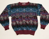 Explosive Saturdays Styling Ugly Sweater, Loud Aztec Pattern, Vintage 90s