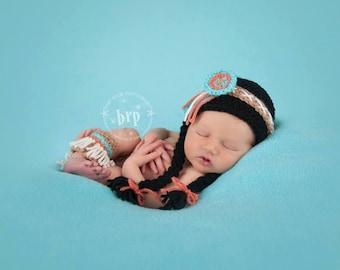 Pocahontas Newborn Photo Prop/ Native American Newborn Prop/ Indian Princess/ Baby Girl Photo Prop/ Thanksgiving Newborn