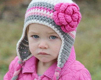 Baby girl earflaps, Baby girl earflaps hat with flower, any size, cute, adorable, fall