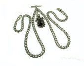 Single -or- Double Albert Pocket Watch Chain ... Antique Inspired Silver & Jet Black Fob