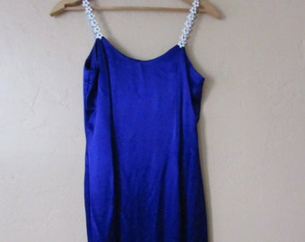 silver daisy colorful gem strap early 90s cyber club kid vintage cobalt blue satin maxi daisies formal prom dance dress - small S 5