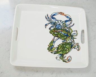 Blue Claw Crab Tray  -  Round or Rectangular Options