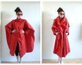 Vtg. Red Cape Coat- Medium, Small, Dramatic, Avant Garde, Winter Coat