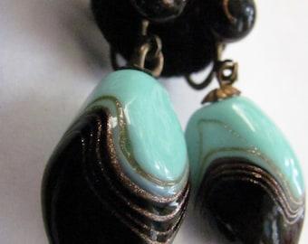 Vintage Italy  Screw Back  Dangle Murano Copper Swirls Glass Bead Earrings