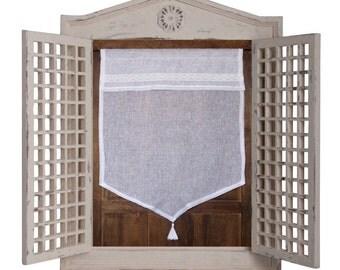 Brise Bise, Linen French Window Curtain, White Tassel Kitchen Cafe Curtain, Shabby Chic Bathroom Curtain