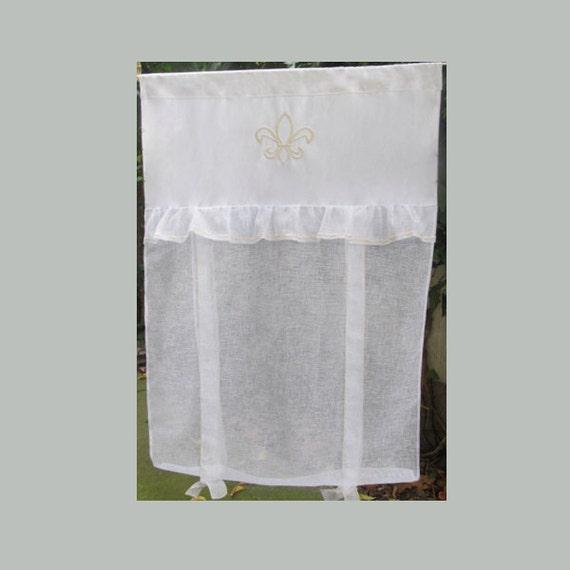 Fleur De Lis French Linen Window Curtain By Hatchedinfrance