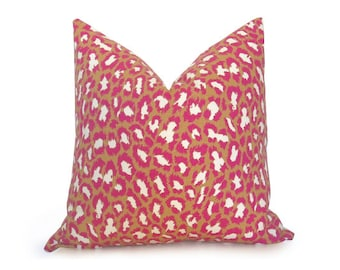 Pink Leopard Pillow Cover - DVF - Pink - Gold - Ivory - Designer Pillow - Leopard Pillow - Decorative Pillow - Gold Pillow - Throw