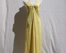 1970's Sexy Vintage Yellow Maxi Dress
