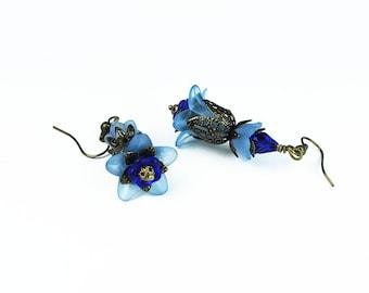 Anina, Vintage Inspired Flower Earrings, Blue Lucite, Crystal & Brass Filigree