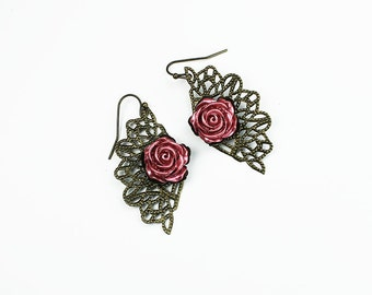 Pink Hand Dyed Resin Rose & Antiqued Brass Filigree Vintage Style Earrings