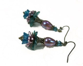 Hand Painted Vintage Style Flower Earrings, Pink, Blue, Green Lucite - Czech Glass- Swarovski Crystal - Antiqued Brass