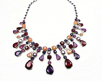 Hand Painted Rhinestone Bib Statement Necklace Purple, Pink, Ruby Red, Orange, Gifts for Her, Womans Accessories