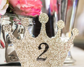 Princess Birthday Sign in Glitter - Girls Princess Birthday Decor, Crown in Glitter First, Second, Etc.( Item - LCR100 )