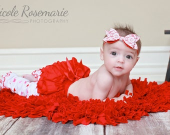 1st Valentines Day Ruffle Baby Bloomers/Red Ruffle Diaper Cover/Newborn Bloomers/Ruffle Bloomers/Baby Girl Bloomers/Cotton Bloomers