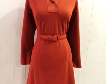 vintage rust dress - 1960s mod belted collared dress