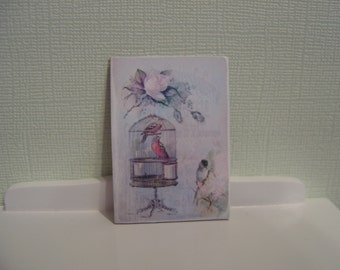 Sign miniature dollhouse birds and cage one inch scale 1:12