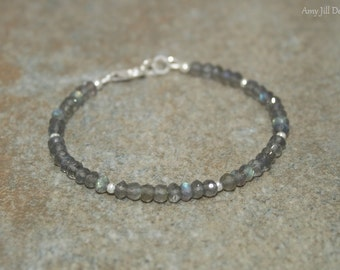 Labradorite Bracelet, Labradorite Jewelry, Sterling Silver Beads, Blue Flash, Gemstone Jewelry