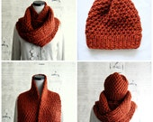 Hand Knit Chunky Infinity Scarf with matching knit beanie hat, Burnt Orange Rust Spice, Ready to Ship