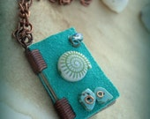 Teal Water Magic Mini Book Grimoire Spell Book Necklace  by Dryw on Etsy