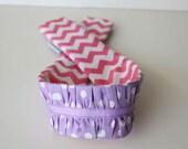 dSLR ruffle camera strap cover -- purple dots & pink chevron