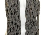 Extra Long Mega Chunky Arm Knit Chenille Nomad Infinity Scarf Cowl Gray