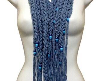 Extra Long Beaded Fringe Crochet Scarf Cowl Denim Blue