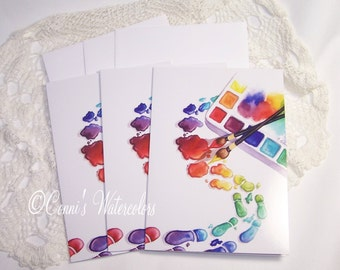 3 pack of fine art watercolor Greeting Cards blank inside note card gifts for Artists w/ envelopes