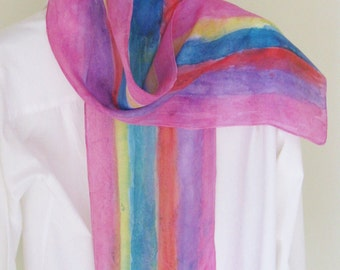 Hand painted silk scarf pink purple blue orange yellow striped 8x54 Canadian design scarf