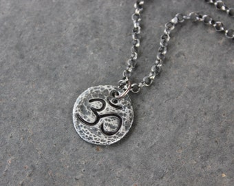 Antiqued Ancient Om Necklace - Buddhist fine silver handmade Aum charm, sterling silver rollo chain- Zen Meditation- free shipping USA