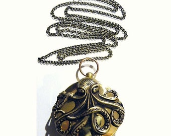 Steampunk Compass Octopus Cthulhu Squid and Golden Brass Pocket Compass Necklace Steam punk