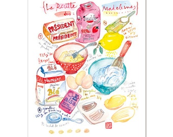 Madeleine recipe print, Kitchen decor, Watercolor painting, 8X10 wall decor, Food poster, Colorful home decor, Kitchen wall art, Kitchen art