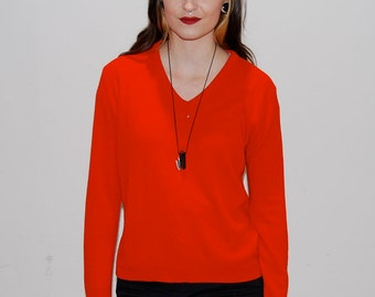 SALE vintage red v-neck sweater / small