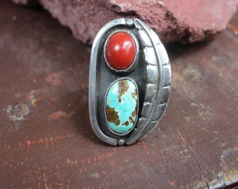Sterling silver Turquoise Coral Navajo Ring
