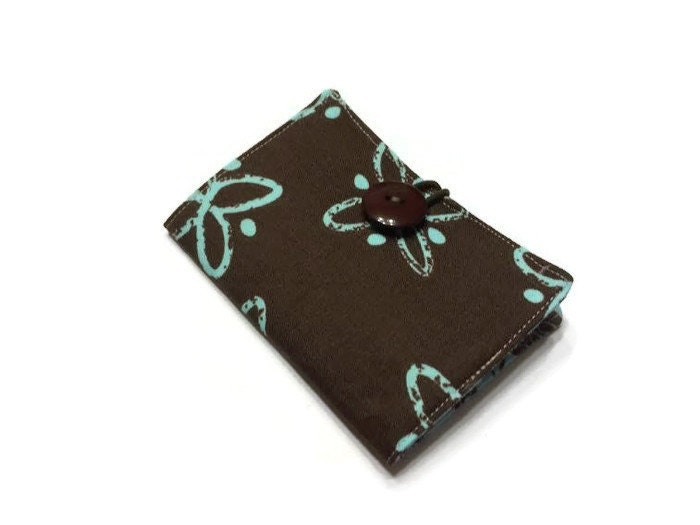 Tea Bag Wallet Holder Travel Container Brown Aqua Gift Tea