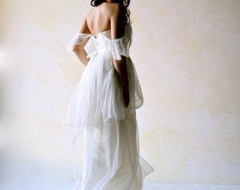 Tiered Wedding Dress, Boho Wedding Dress, long layered wedding dress, silk wedding dress, hippie wedding dress, edwardian wedding dress