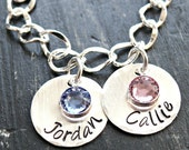 Hand Stamped Personalized Charm Bracelet Grandmother Mother Hand Stamped Bracelet with Birthstones