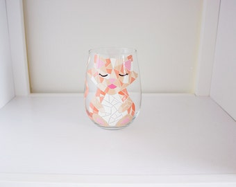 Mosaic Cat Hand Painted Wine Glass - Customized and/or Personalized